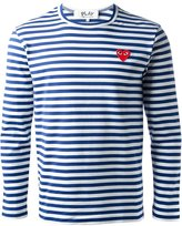 Comme des Garcons embroidered heart striped T-shirt