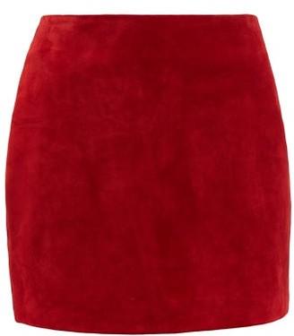 Saint Laurent High Rise Suede Mini Skirt - Womens - Red