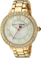 Betsey Johnson Women's BJ00397-26 Simple Gold Crystal Bezel and Bracelet Watch