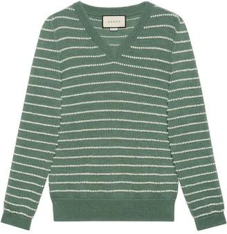 Gucci striped V-neck jumper