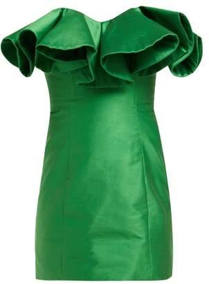 ATTICO The Ruffle Trim Cotton Blend Bustier Dress - Womens - Green