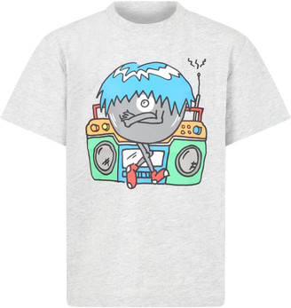 Stella McCartney Kids Grey T-shirt For Boy With Monster