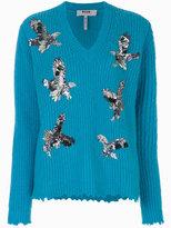 MSGM embellished eagle sweater