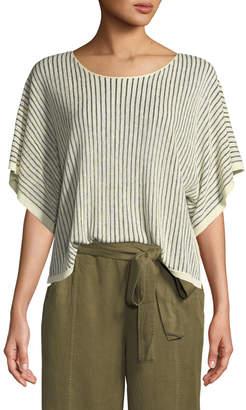 Eileen Fisher Petite Short-Sleeve Vertical Striped Organic Sweater