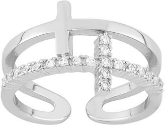 Cubic Zirconia Sterling Silver Sideways Cross Ring