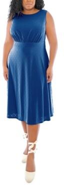 London Times Plus Size Banded-Waist Midi Dress