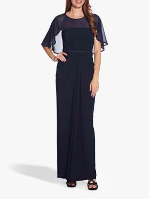 Adrianna Papell Chiffon Jersey Draped Dress, Midnight