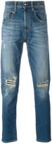 R 13 ripped tapered jeans