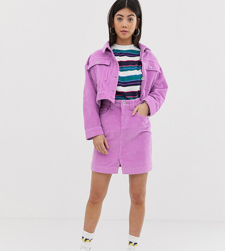 Collusion Petite denim mini skirt in cord