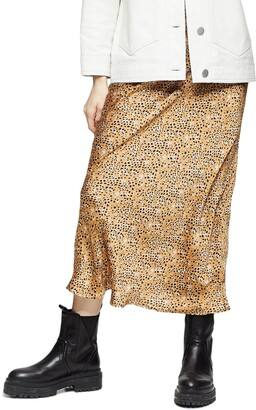Topshop Animal Print Bias Cut Maxi Skirt