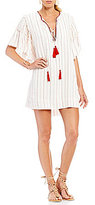 Moon River Stripe Embroidered Shift Dress