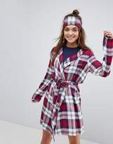 Asos Mix & Match Woven Check Embroidered Robe & Eye Mask