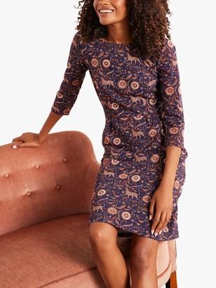 Boden Penny Jersey Nature Print Knee Length Dress, Navy