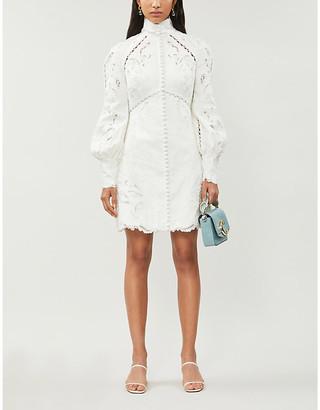Zimmermann Embroidered linen and silk-blend broderie midi dress