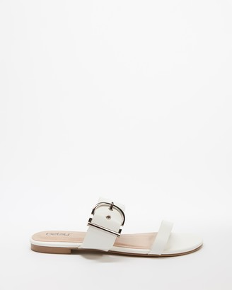 Betsy - Women's White Flat Sandals - Two Strap Buckle Slides - Size 38 at The Iconic