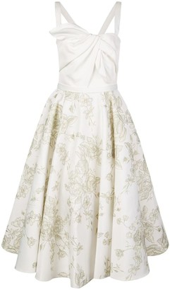 Marchesa Notte Embroidered Satin Draped Dress