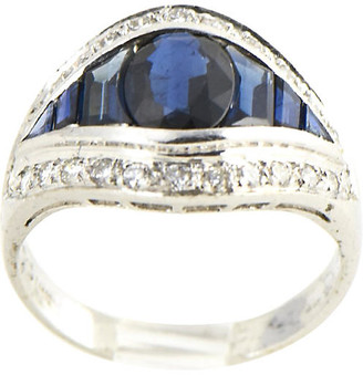 One Kings Lane Vintage Deco-Style Sapphire & Diamond Ring - Owl's Roost Antiques