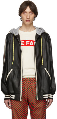 Gucci Black Leather Hood Bomber Jacket