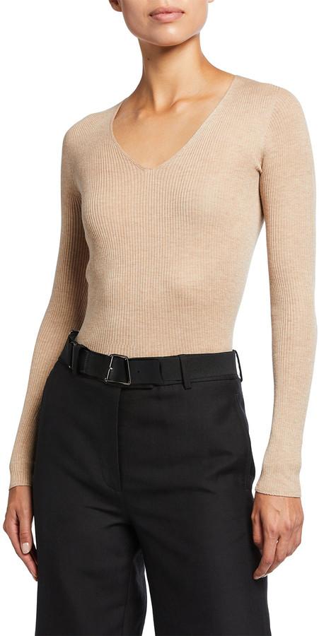 Akris V-Neck Silk-Cotton Seamless Rib-Knit Sweater