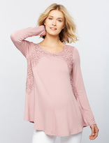 A Pea in the Pod Crochet Detail Maternity T Shirt
