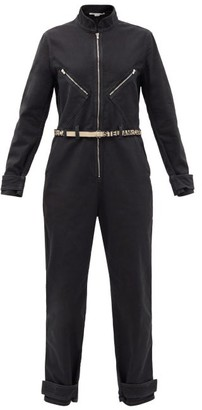 Stella McCartney Logo-jacquard Belt Denim Jumpsuit - Black