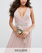 TFNC WEDDING Slim Sash Belt with Pretty Embellishment
