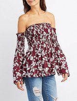 Charlotte Russe Floral Smocked Off-The-Shoulder Top