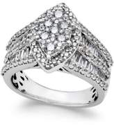 Macy's Diamond Large Cluster Engagement Ring (2 ct. tw.) in 14k White Gold
