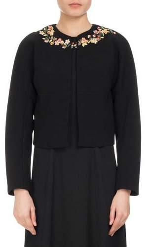 Altuzarra Brett Floral-Embroidered Jacket, Black