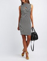 Charlotte Russe Striped Crossover Bodycon Dress