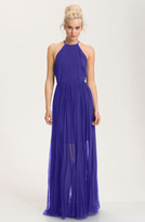 French Connection Sheer Overlay Halter Maxi Dress