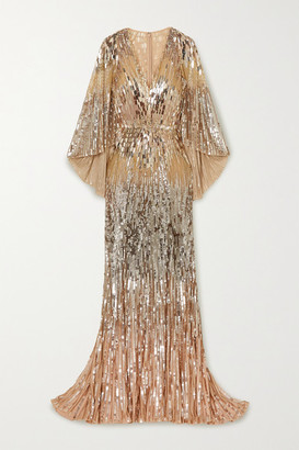 Jenny Packham Hennie Cape-effect Embellished Tulle Gown - Gold
