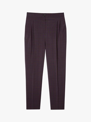 Paul Smith Pleated Check Print Wool Trousers, Burgundy