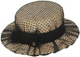 Sophie Straw Boater Hat W/Tulle Overlay