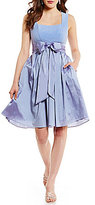 Adrianna Papell Taffeta Fit-and-Flare Dress