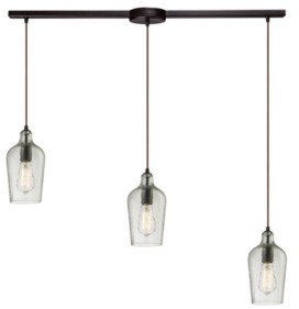 Elk Lighting Hammered Glass Collection 3 Light Pendant in Oil Rubbed Bronze