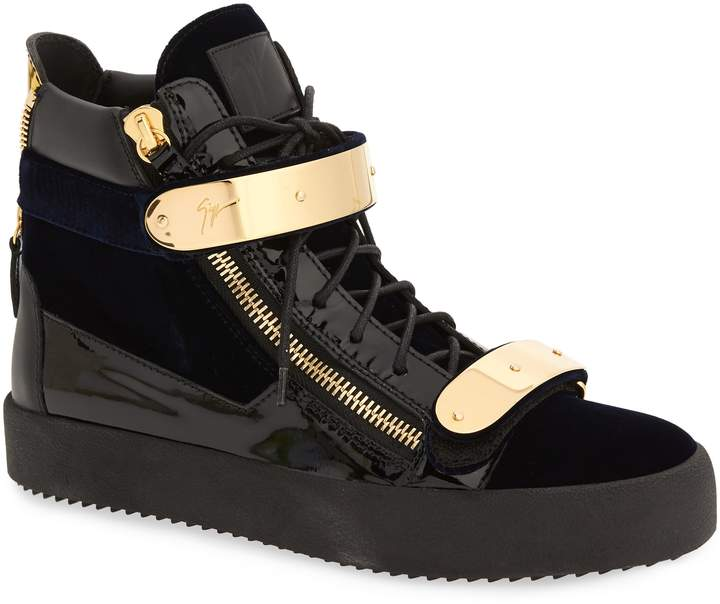 Giuseppe Zanotti Gold Bar High Top Sneaker