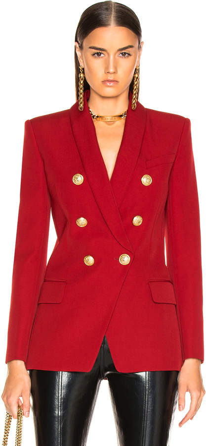 Balmain Oversized Double Breasted Blazer in Dark Red | FWRD