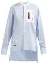 Wales Bonner Striped Cotton And Silk-blend Shirt - Womens - Blue White