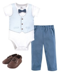 Little Treasure Baby Boys Bodysuit, Pant and Shoe Set, Pack of 3