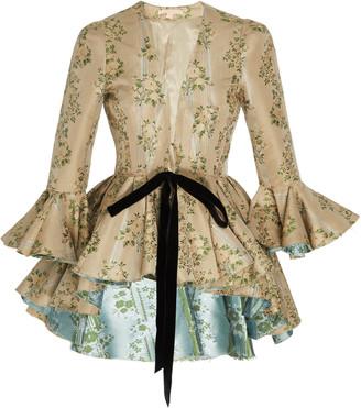 Brock Collection Floral-Jacquard Tie-Detailed Peplum Jacket
