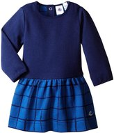 Petit Bateau Dress With Checkered Skirt (Baby) - Navy Blue - 12 Months