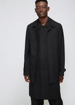 Comme des Garcons Black Stripe Wool Jacquard & Nylon Tweed Combo Overcoat