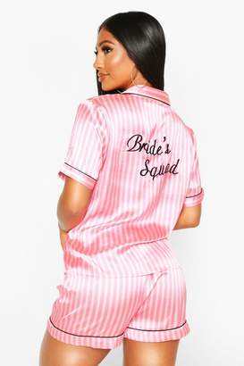 boohoo Satin Stripe Bride Squad PJ Short Set