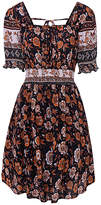 Cellabie CELLABIE Women's Casual Dresses Picture - Navy Floral Puff-Sleeve Peasant Dress - Women