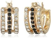 Jessica Simpson Antique Gold/Crystal/Jet Multi-Row Pave Huggie Earrings