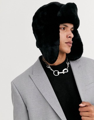 Asos DESIGN trapper hat in black faux fur
