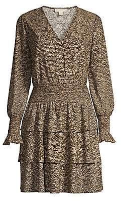 MICHAEL Michael Kors Women's Cheetah Tiered Ruffle Blouson Dress
