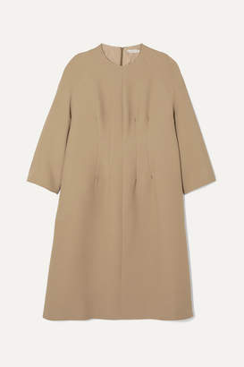 The Row Benan Pintucked Wool And Silk-blend Dress - Beige