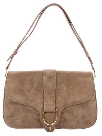 Gucci Vintage Suede Stirrup Flap Bag